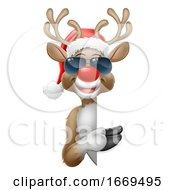 Christmas Santa Hat Reindeer Sunglasses Sign