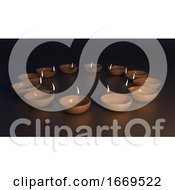 3D Diwali Background With Decorative Oil Lamp