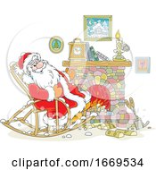 Santa Rocking In A Chair By A Fire