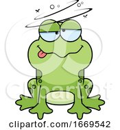 Cartoon Drunk Frog