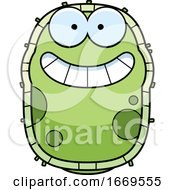 Cartoon Grinning Green Cell Germ