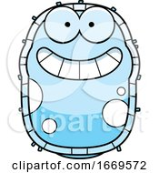 Cartoon Grinning Blue Cell Germ
