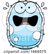 Cartoon Scared Blue Cell Germ