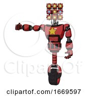 Android Containing Dual Retro Camera Head And Cube Array Head And Light Chest Exoshielding And Yellow Star And Unicycle Wheel Primary Red Halftone Arm Out Holding Invisible Object