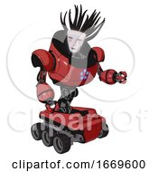 Droid Containing Humanoid Face Mask And Blood Tears And Heavy Upper Chest And Circle Of Blue Leds And Six Wheeler Base Primary Red Halftone Fight Or Defense Pose
