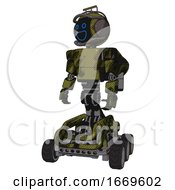 Cyborg Containing Digital Display Head And Wide Smile And Led And Protection Bars And Light Chest Exoshielding And Prototype Exoplate Chest And Rocket Pack And Six Wheeler Base Grunge Army Green