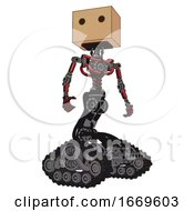Android Containing Dual Retro Camera Head And Cardboard Box Head And Light Chest Exoshielding And No Chest Plating And Tank Tracks Primary Red Halftone Hero Pose