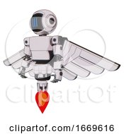 Bot Containing Digital Display Head And Three Vertical Line Design And Light Chest Exoshielding And Prototype Exoplate Chest And Pilots Wings Assembly And Jet Propulsion White Halftone Toon