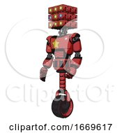 Android Containing Dual Retro Camera Head And Cube Array Head And Light Chest Exoshielding And Yellow Star And Unicycle Wheel Primary Red Halftone Facing Right View