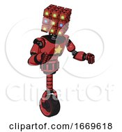 Android Containing Dual Retro Camera Head And Cube Array Head And Light Chest Exoshielding And Yellow Star And Unicycle Wheel Primary Red Halftone Fight Or Defense Pose