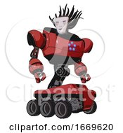 Droid Containing Humanoid Face Mask And Blood Tears And Heavy Upper Chest And Circle Of Blue Leds And Six Wheeler Base Primary Red Halftone Hero Pose