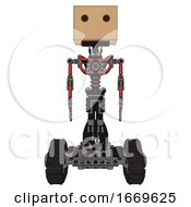 Android Containing Dual Retro Camera Head And Cardboard Box Head And Light Chest Exoshielding And No Chest Plating And Tank Tracks Primary Red Halftone Front View