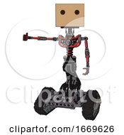 Android Containing Dual Retro Camera Head And Cardboard Box Head And Light Chest Exoshielding And No Chest Plating And Tank Tracks Primary Red Halftone Arm Out Holding Invisible Object