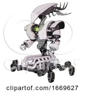 Cyborg Containing Flat Elongated Skull Head And Cables And Heavy Upper Chest And Heavy Mech Chest And Green Energy Core And Insect Walker Legs White Halftone Toon Facing Right View