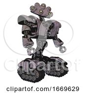 Bot Containing Techno Multi Eyed Domehead Design And Heavy Upper Chest And Heavy Mech Chest And Tank Tracks Sketch Fast Lines Facing Left View