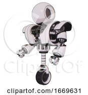 Droid Containing Round Head And Heavy Upper Chest And Heavy Mech Chest And Unicycle Wheel White Halftone Toon Facing Right View