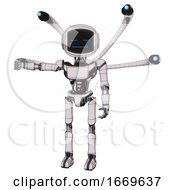Droid Containing Digital Display Head And Sleeping Face And Light Chest Exoshielding And Ultralight Chest Exosuit And Blue Eye Cam Cable Tentacles And Ultralight Foot Exosuit White Halftone Toon
