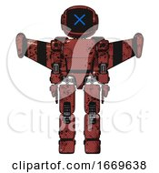 Bot Containing Digital Display Head And X Face And Light Chest Exoshielding And Prototype Exoplate Chest And Stellar Jet Wing Rocket Pack And Prototype Exoplate Legs Grunge Matted Orange Front View