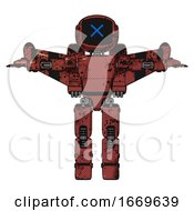 Bot Containing Digital Display Head And X Face And Light Chest Exoshielding And Prototype Exoplate Chest And Stellar Jet Wing Rocket Pack And Prototype Exoplate Legs Grunge Matted Orange T Pose