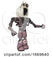 Bot Containing Old Computer Monitor And Old Computer Magnetic Tape And Heavy Upper Chest And No Chest Plating And Light Leg Exoshielding Grayish Pink Interacting