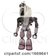 Bot Containing Old Computer Monitor And Old Computer Magnetic Tape And Heavy Upper Chest And No Chest Plating And Light Leg Exoshielding Grayish Pink Standing Looking Right Restful Pose