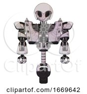 Robot Containing Grey Alien Style Head And Black Eyes And Helmet And Heavy Upper Chest And Heavy Mech Chest And Shoulder Spikes And Unicycle Wheel Sketch Pad Doodle Lines Front View