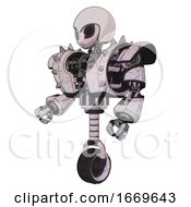 Robot Containing Grey Alien Style Head And Black Eyes And Helmet And Heavy Upper Chest And Heavy Mech Chest And Shoulder Spikes And Unicycle Wheel Sketch Pad Doodle Lines Facing Right View