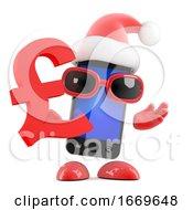 3d Santa Smartphone Holds A UK Pounds Sterling Symbol