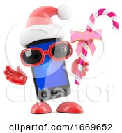 Poster, Art Print Of 3d Smartphone Santa Has Candy