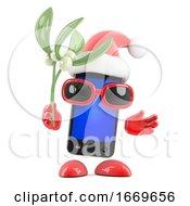 3d Smartphone Santa Has Mistletoe