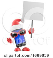 3d Santa Smartphone Holds Up A Blank Placard