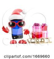 3d Santa Smartphone Has A Sled Full Of Xmas Gifts