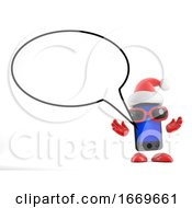 3d Santa Smartphone With Speech Bubble