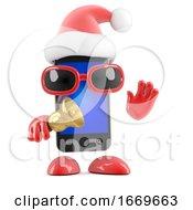 3d Santa Smartphone Rings His Bell