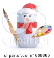 Poster, Art Print Of 3d Snowman Is An Artist