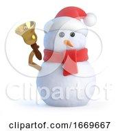 3d Santa Snowman Rings His Bell