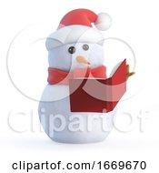 3d Snowman Reads A Book