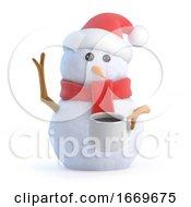 Poster, Art Print Of 3d Snowman Has A Tea Break