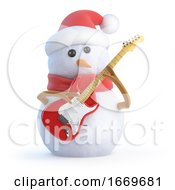 Poster, Art Print Of 3d Snowman Plays Electric Guitar