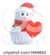 Poster, Art Print Of 3d Snowman Hugs A Romantic Heart