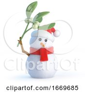 3d Santa Snowman With Mistletoe