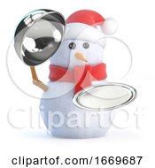 3d Snowman Offers Silver Service