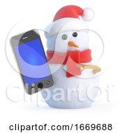 3d Santa Snowman Holding A Smartphone