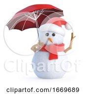 3d Snowman Puts His Umbrella Up