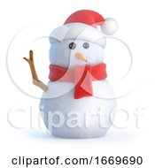 3d Santa Snowman Waves Hello