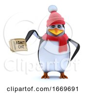 3d Cute Winter Penguin Has A Ticket To The Show