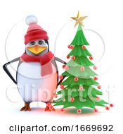 3d Winter Penguin With His Christmas Tree