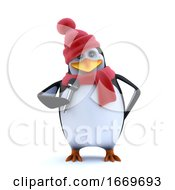 3d Winter Penguin Sings Into The Microphone