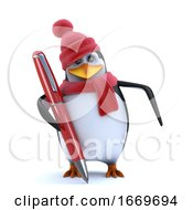 3d Winter Penguin Has A New Pen To Write With