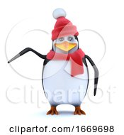 3d Winter Penguin Points To Something Of Interest